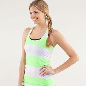 Women's Lululemon Cool Racerback Lime Striped Tank